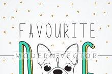 French bulldog design background