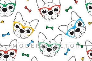 Seamless hipster bulldog pattern