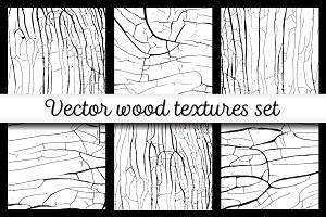 Vector wood cracks textures set