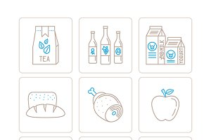 Food iconset mono line style