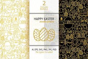 Happy Easter Line Gold Tile Patterns