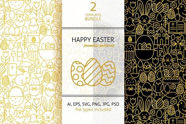 Happy Easter Line Gold Tile Pattern…