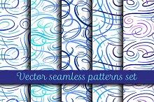 Vector absrtact curves patterns set