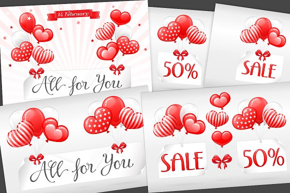 SET / 5 / SALE with Red balloons