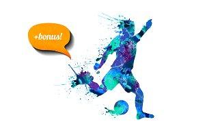 Watercolor football player + bonus