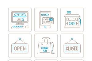 Shopping iconset mono line style