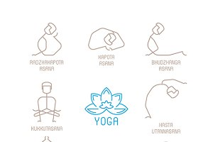 Yoga poses iconset lineart style