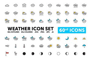 Weather Icon Set - 60(x2) Icons