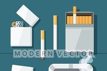 Set lighters, cigarettes, ashtray