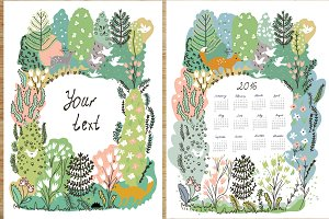 Nature background, calendar vectors
