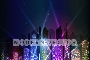 Colored bright night cityscape