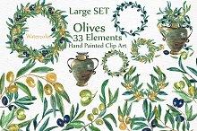 Watercolor Olive clip art set