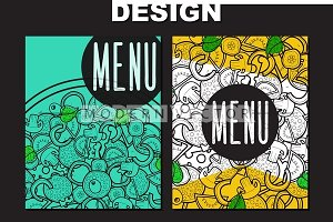 Design menu with doodle pizza