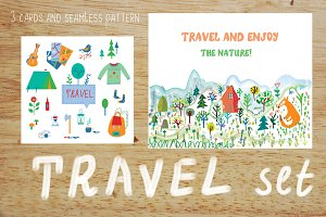 Tourism and travel vector set