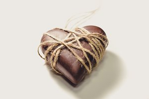 Chocolate Heart Wrapped in String