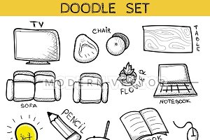 Doodle set an elements of interior