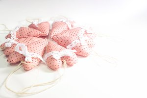 Textile Pink Hearts