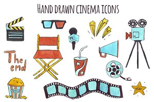 Set of hand drawn icons Cinema