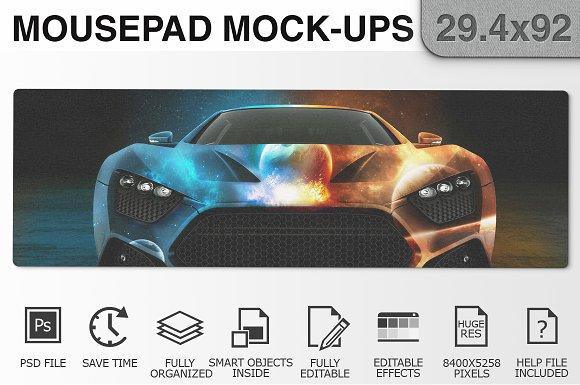 Mousepad Mockups - 29.4x92 - 1 in Product Mockups
