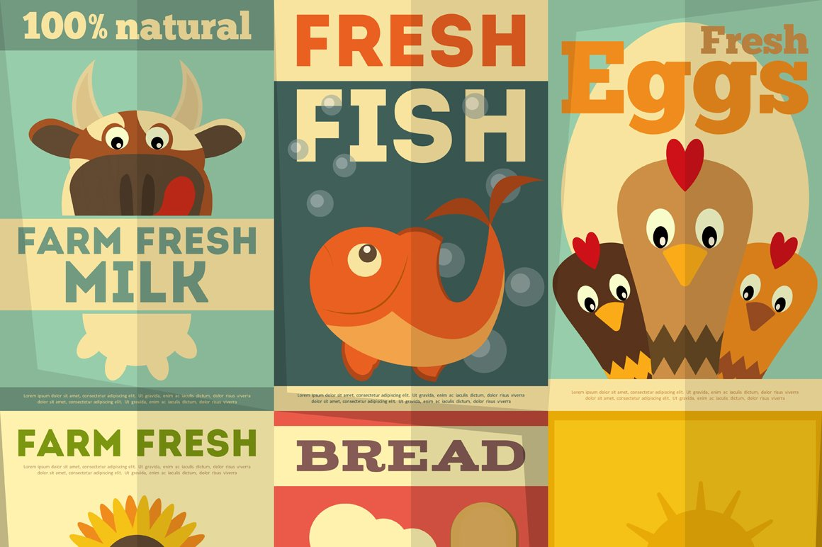 set of posters for organic farm food illustrations creative market