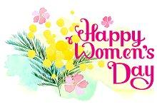 Happy Women's Day. Watercolor flower