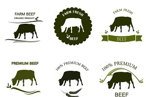 Beef labels, badges, logo set
