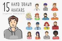 Hand drawn vector avatars set