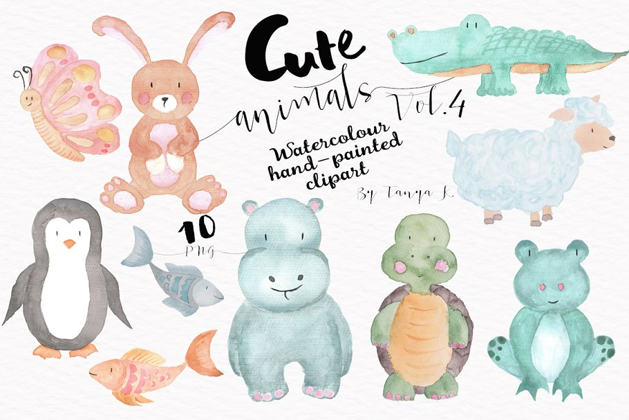 Cute Animals Vol.4 Watercolour