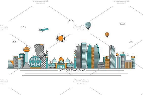 Abu Dhabi line skylines set
