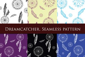 Dreamcatcher SET. Seamless pattern