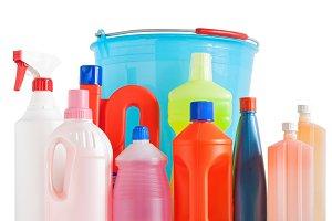 detergent bottles and bucket
