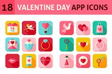 Valentine Day Vector Flat App Icons