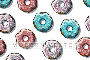 Seamless pattern of bright donuts