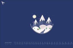 2016 Minimalist Calendar | January