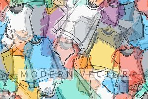 Seamless pattern clothes watercolor