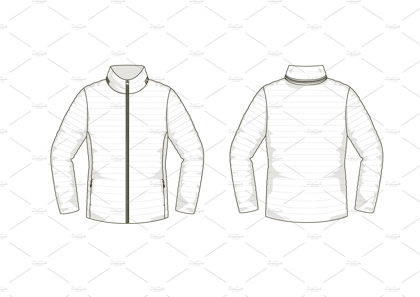 Down Jacket Fashion Flat Template ~ Templates ~ Creative
