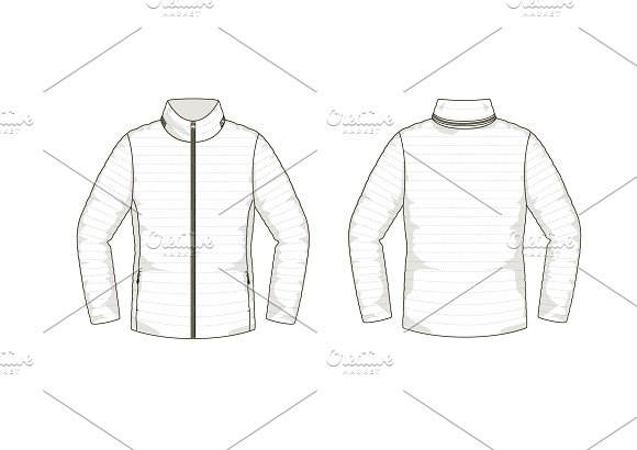 Down Jacket Fashion Flat Template