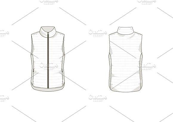 lightdown vest fashion flat template templates creative market