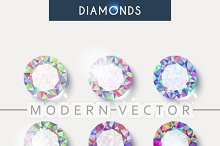 Set realistic diamond with reflex