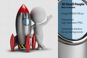 3D Small People - Next to Rocket