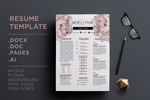 Floral CV template