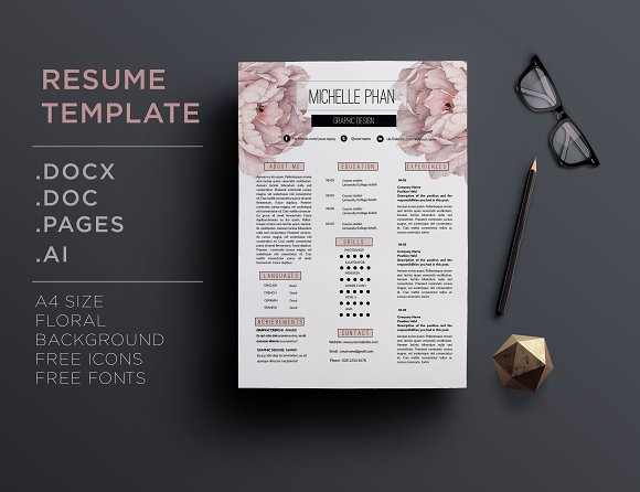 Floral CV Template Creative Daddy