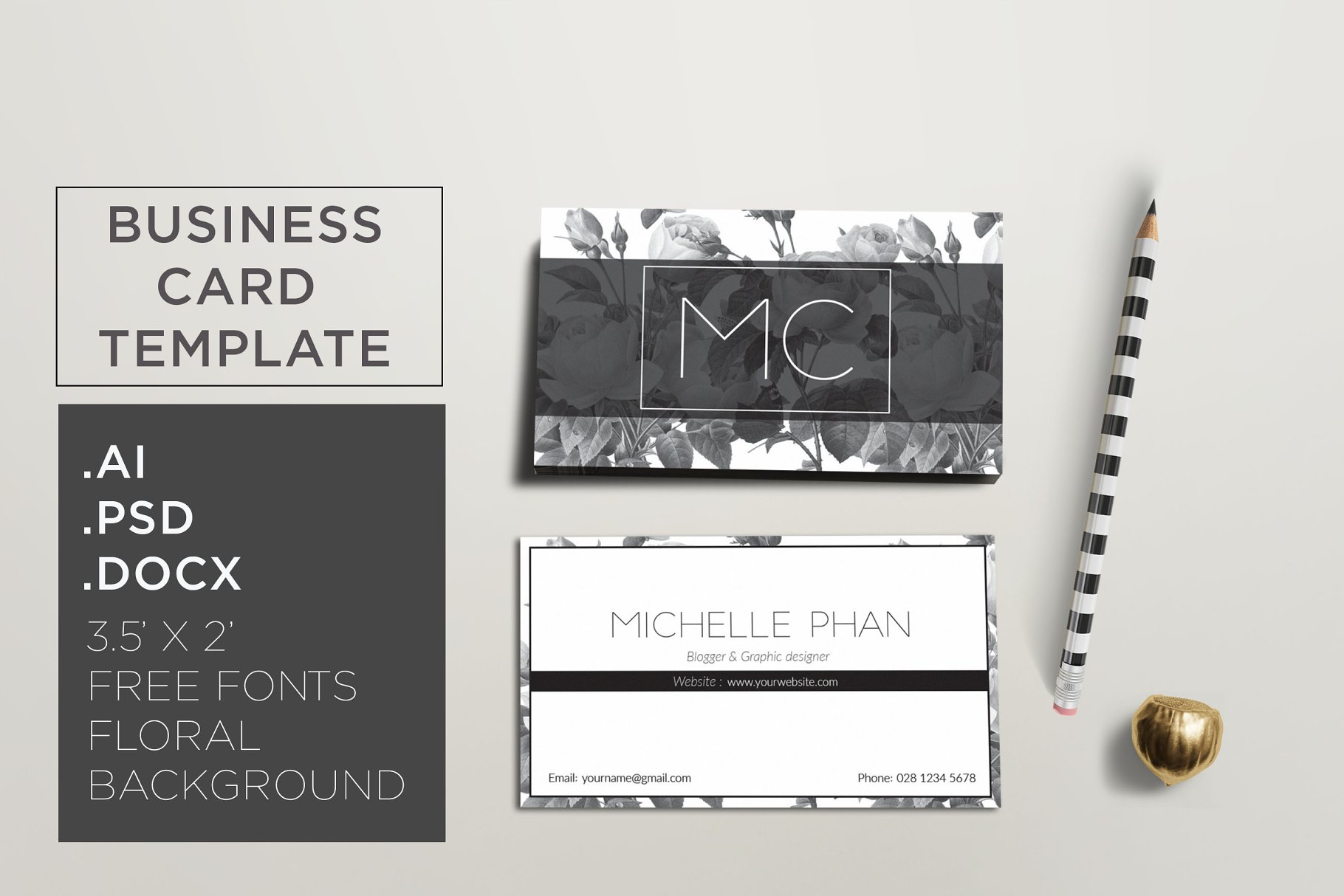 Floral business card (black and whit - Business Card Templates ...