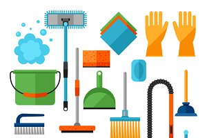 Housekeeping cleaning icons set.