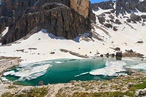 Dolomites - Pisciadu peak and lake