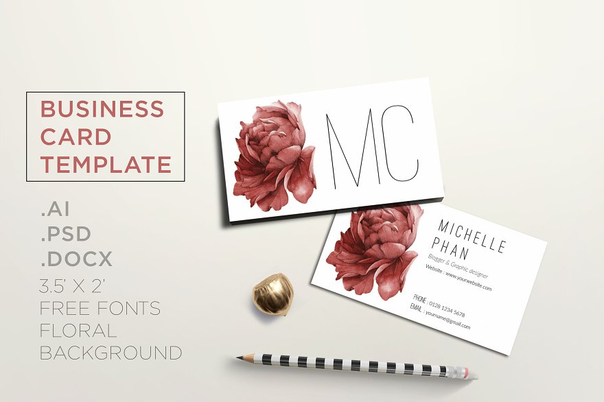Floral business card template - Business Card Templates | Creative ...
