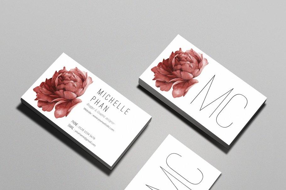 Floral business card business card templates creative market pro fbccfo Images