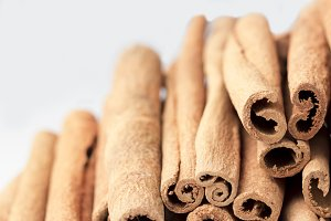Cinnamon sticks White Background