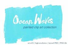 Ocean Waves painted clip art