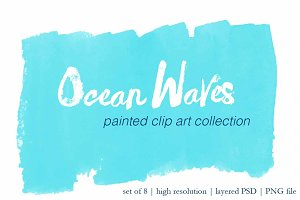 Ocean Waves painted clip art